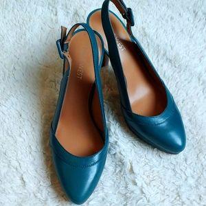 Nine West Teal color Sling Back Heels S 5